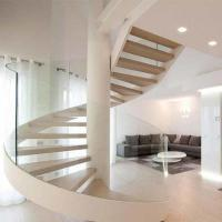 Buy cheap Modern design staircase round rod guard rail solid wood curved stair for indoor from wholesalers