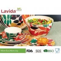 Buy cheap Non Toxic Tasteless Bamboo Salad Bowl Set Waterproof With Customized Prints from wholesalers
