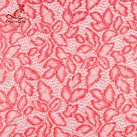 Buy cheap Comfortable Pink Embroidered Lace Fabric Dimensional High Stability product