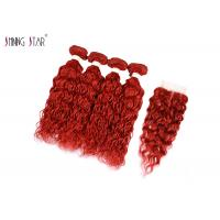 Buy cheap Red Burgundy Brazilian Water Wave Hair Extensions With Closure Curly Weaves No Tangle product