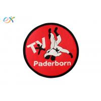 Buy cheap Red Bottom Iron On Embroidered Sports Patches Polyester Material Round Shape product