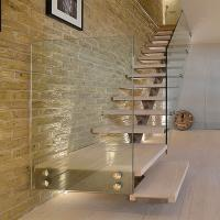 Buy cheap Customized Single Stringer Wood Treads Floating Stairs / Straight Staircase / Glass Stairs product