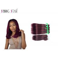 Buy cheap Wine Red Malaysian Remy Hair Bundles / 4 Malaysian Straight Hair Bundles product