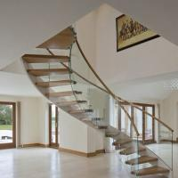 Buy cheap American building unique design Modern Curved stainless steel rod railing Wood from wholesalers