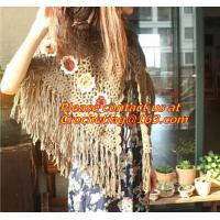 Buy cheap Mexican print knitted open poncho with roll neck, Green Free Knitting Crochet Woman product