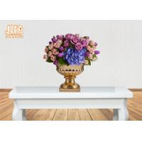 Buy cheap 3 Sizes Classic Fiberglass Flower Pots Gold Leafed Finish Poly Resin Planters product