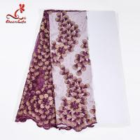 Buy cheap 130CM Polyester Guipure Lace Fabric / African Beaded Flower Lace Embroidery Fabric For Clothing product