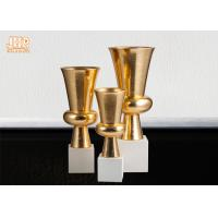 Buy cheap Trumpet Gold Leaf Fiberglass Planters With Frosted White Base Pot Planters product