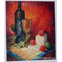 China Still life oil painting-wine bottle, glass and fruits on sale