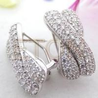 Buy quality Hand setting Triple A CZ rhodium plating 925 silver clip on earrings(E6074) at wholesale prices