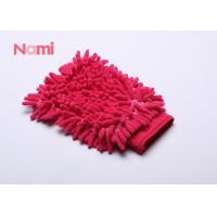China Red Color Chenille Car Wash Mitt Strong Cleaning Performance 150 - 300g on sale