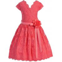 Buy cheap Coral V Neck Cap Sleeves Little Girls Holiday Dresses , Kids Birthday Frocks Rose Lace Flower Belt product