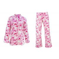 Buy cheap 100% Cotton Flannel Button Up Womens Pyjama Sets With Piping And Long Pants product