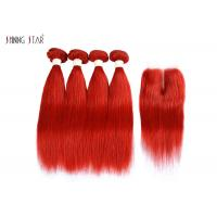 Buy cheap Brazilian Bright Red Straight Hair Bundles With Closure Can Be Dyed / Permed product