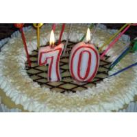 Buy cheap Paraffin Wax Number 70 Decorative Cake Candles With Red Colors Edge OEM product