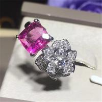 Piaget  full diamonds red tourmaline rose  ring of 18kt gold  with yellow gold or white gold