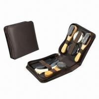 Buy cheap Shoe shine set, made of PU leather and wood product