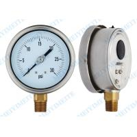 Buy cheap 100mm Bottom liquid pressure gauge with brass connector , 304 SS Pressure Gauge product