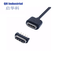 Buy cheap 1A 2A 3A 700gf Spring force 1m Length Black Male Female Charging 4 Pin Magnetic Pogo Pin Cable Connector product