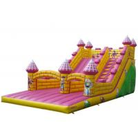 Buy cheap Jumping Commercial Grade Blow Up Water Slide Pink Color Double Lane Customized product