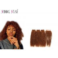 Buy cheap Gold Blonde 3 Bundles Kinky Curly Hair Weave With Closure 100% Original product