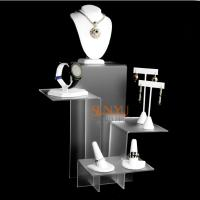 Buy cheap Elegant Four Tier White Acrylic Display Stand , Retail Jewellery Display Stands Frost Platform Riser product