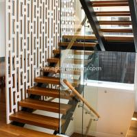 Buy cheap Beautiful Modern Design Double Cantilevered Steel Wood Stringer Glass Staircase product
