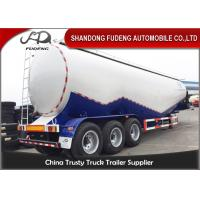 Quality 80 tons Cement Tanker Trailer , 3 axles Mobile Horizontal Cement Fly Ash Silo for sale