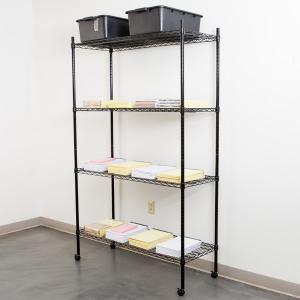 China Black Epoxy Office Book Rack Unit / Mobile Metal Storage Shelves on sale
