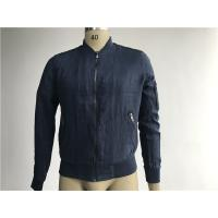 Buy cheap Navy Linen Jacket Short Trench Coat Men With Rib Collar And Gunmetal Zip from wholesalers