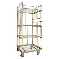 China Strong Reinforced Laundry Cage Trolley Bright Electro Zinc Plated Finish on sale