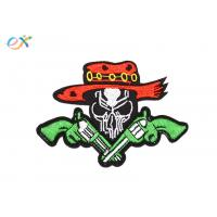 Buy cheap Twill Material Gun Skull Custom Motorcycle Patches Sew On Backing For Leather Vest product