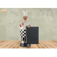 Buy cheap Happy Fat Polyresin Chef Holding Wooden Chalkboard Resin Chef Statue Figure from wholesalers