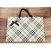 Buy cheap Luxury Check Pattern Reusable Kraft Paper Packaging Bags Big Size With Silk from wholesalers