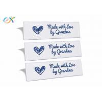 Buy cheap Sewing Garment Fabric Material Woven Clothing Labels Embroidered Blue On White product