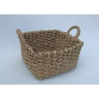 Buy cheap Beachcomber utility basket, Rush hand woven storage basket  with handle, rectangle shape,natrual color,wicker basket product