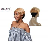 Buy cheap Straight Short Hair Wigs Colored 1B 27 30 Blonde Human Hair Wigs With Bang product