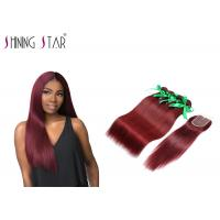 Buy cheap 99j Wine Red  Malaysian Hair Bundles With Lace Closure Remy Hair 10 26 Inch product