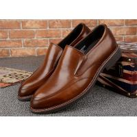 Quality Almond Shaped  Moccasin Toe Classic Dress Shoes Calfskin Leather With Elastic Band for sale