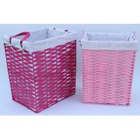 Buy cheap Rope woven hamper, paper storage basket, laundry basket with facric lining,pink color product