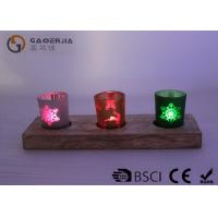 Buy cheap glass candle holder with laser picture with wooden base and LED tealight product