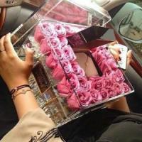 Buy cheap Wedding decoration acrylic flower display container / clear acrylic rose box with lid product