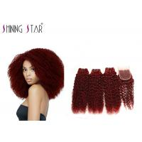 Buy cheap 99J Color Brazilian Kinky Curly Hair Weave Human Hair 4 Bundles With Closure product