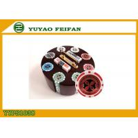 Family Game 200 PCS Custom Poker Chip Set With Round Type Luxury Wooden Tray Manufactures