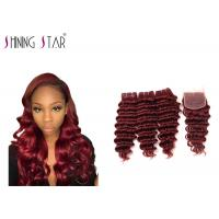 Buy cheap 99j Deep Wave Indian Hair Bundles With Closure Machine Double Tight Weft product