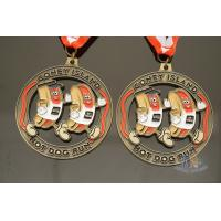 Buy cheap Hot Dog Running Custom Sports Medals Antique Gold Plating Size 50.8*3mm from wholesalers