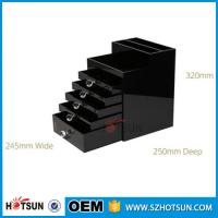 Buy cheap New Style 2016 5 drawer crystal handle black acrylic jewelry storage box product