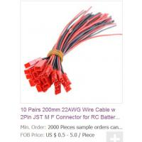Buy quality 10 Pairs 200mm 22AWG Wire Cable w 2Pin JST M F Connector for RC Battery Motor at wholesale prices