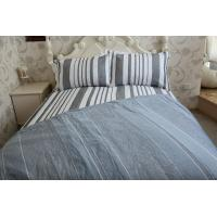 vertical stripe  grey&white polycotton or full cotton duvet cover sets