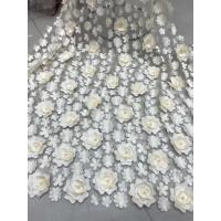 Buy cheap 3D Embroidered Flower Beaded Wedding Gown Lace Fabric Anti-static Fashion product